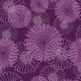 Modello di fiore senza cuciture su fondo viola scuro Illustrazione di Stock