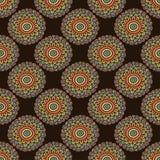 Modello di fiore senza cuciture variopinto Fondo di scarabocchio di stile di Boho Carta da parati di Brown Immagine Stock