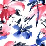 Modello di fiori dell'acquerello Fotografia Stock