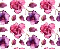 Modello di fiori dell'albero di tulipano o della magnolia illustrazione di stock