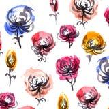 Modello di fiori dell'inchiostro e dell'acquerello Fotografia Stock Libera da Diritti