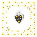 Modello di fiori giallo e vecchia etichetta su fondo bianco Fotografia Stock