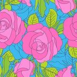 Modello di fiori rosa luminoso su fondo blu illustrazione di stock