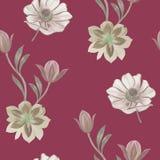 Modello di fiori senza cuciture dell'acquerello Fiori dipinti a mano su un fondo bianco Fiori per il disegno Fiori dell'ornamento illustrazione di stock