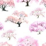 Modello di fioritura del giardino giapponese della ciliegia con l'acquerello Fotografia Stock