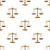 Modello di Flat Icon Seamless della bilancia della giustizia Immagine Stock