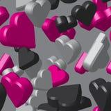 Modello di Grey Black Pink Hearts Seamless Fotografia Stock