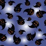 Modello di Halloween per fondo - zucche in cappello della strega - vector l'illustrazione Fotografia Stock Libera da Diritti