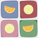 Modello di ?heckered con l'arancia ed il limone Fotografia Stock