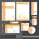 Modello di identità corporativa con gli elementi arancio della maglia Immagine Stock