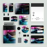 Modello di identità corporativa con gli elementi di colore Stile di affari della società di vettore Fotografie Stock