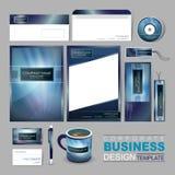 Modello di identità corporativa di affari con il backgrou blu astratto Immagini Stock