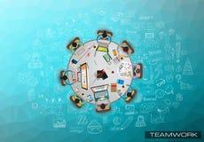 Modello di Infograph con le scelte multiple e molti elementi e modelli infographic di progettazione Fotografia Stock