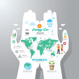 Modello di Infographic con l'insegna della carta della mano Vettore di concetto di Eco Immagini Stock Libere da Diritti