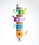 Modello di Infographic con l'insegna geometrica della matita