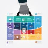 Modello di Infographic con la borsa della tenuta della mano dell'uomo d'affari