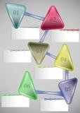 Modello di Infographic con le frecce e le carte in bianco Fotografia Stock