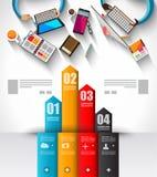 Modello di Infographic con le icone piane di UI per il posto del ttem illustrazione di stock