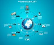 Modello di Infographic con le icone piane di UI per il posto del ttem Fotografie Stock Libere da Diritti