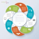 Modello di Infographic con otto segmenti Immagini Stock