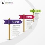 Modello di Infographic Concetto di affari con la bandiera multicolore illustrazione di stock