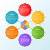Modello di Infographic del punto o di un diagramma di flusso di lavoro di 6 cerchi co royalty illustrazione gratis