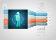 Modello di Infographic della freccia di prospettiva Fotografie Stock