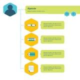 Modello di Infographic di cronologia blu, verde e giallo Immagini Stock