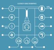 Modello di Infographic di uso di elettricità Fotografia Stock Libera da Diritti