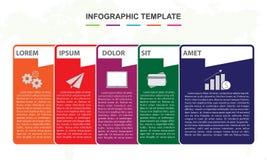 Modello di Infographic per l'affare diagramma di cronologia della mappa del perno di 6 punti fotografie stock libere da diritti
