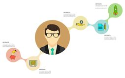Modello di Infographic Visualizzazione di dati Può essere usato per la disposizione di flusso di lavoro, numero delle opzioni, i  Fotografia Stock Libera da Diritti