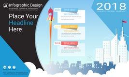 Modello di infographics di affari, cronologia della pietra miliare o programma di strada con le opzioni del diagramma di flusso t illustrazione di stock