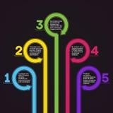 Modello di Infographics. Cinque opzioni. Immagine Stock