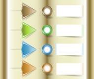 Modello di Infographics con i blocchi note, i bottoni e le frecce di carta per webdesign Fotografia Stock