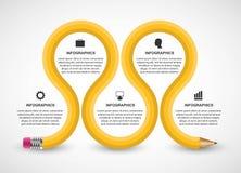 Modello di Infographics con la matita Infographics per l'insegna di presentazioni o di informazioni di affari royalty illustrazione gratis