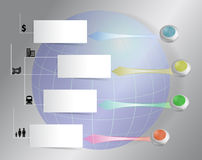 Modello di infographics del mondo con i bottoni variopinti Fotografie Stock Libere da Diritti