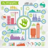 Modello di infographics della città di eco di vettore del Lat Fotografia Stock Libera da Diritti