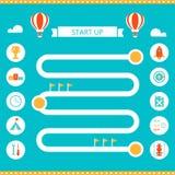 Modello di Infographics della pista di corsa Avvii su e concetto di strategia aziendale Fotografie Stock