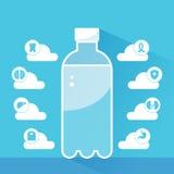 Modello di Infographics delle indennità-malattia dell'acqua Una bottiglia dell'acqua è circondata dalle nuvole e dalle icone che  Immagini Stock Libere da Diritti