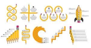 Modello di Infographics di istruzione della raccolta Infographics per l'insegna di presentazioni o di informazioni di affari royalty illustrazione gratis