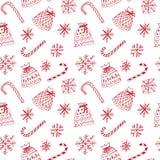 Modello di inverno con i fiocchi di neve ed i sacchi attuali Fotografia Stock