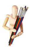 Modello di legno del pittore con i pennelli Fotografia Stock
