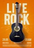 Modello di Live Classic Rock Music Poster dell'illustrazione di vettore bello Per la promozione di concerto in club, nelle barre, illustrazione di stock