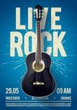 Modello di Live Classic Rock Music Poster dell'illustrazione di vettore bello Per la promozione di concerto in club, nelle barre, illustrazione vettoriale