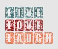 Modello di Live Laugh Love Greeting Card Fotografia Stock Libera da Diritti