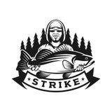 Modello di logo di colpo di pesca bassa Fotografie Stock