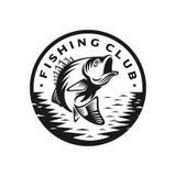 Modello di logo di colpo di pesca bassa Immagine Stock