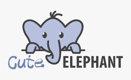 Modello di logo con l'elefante sveglio Modello di progettazione di logo di vettore per lo zoo, cliniche veterinarie Logo animale  illustrazione vettoriale