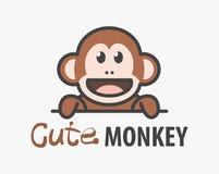 Modello di logo con la scimmia sveglia Modello della scimmia di progettazione di logo di vettore per lo zoo, cliniche veterinarie illustrazione di stock