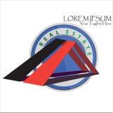 Modello di logo del bene immobile del triangolo illustrazione di stock